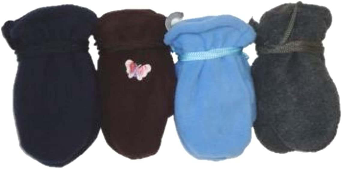 Set of Four Pairs Finest Mongolian Very Warm Fleece Gloves for Ages 6-24 Months