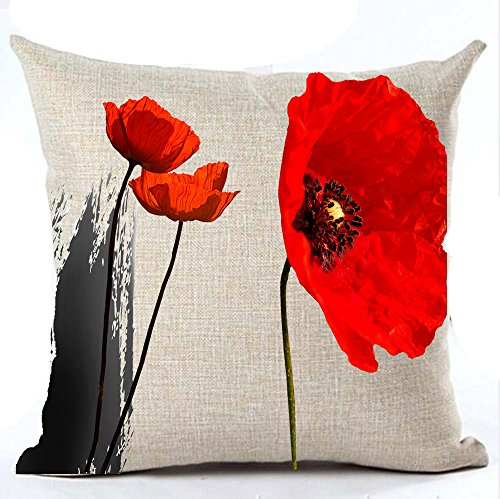 Andreannie Beautiful Charming Watercolor Oil Painting Red Poppy Sweetheart Cotton Linen Throw Pillow Case Cushion Cover New Home Office Indoor Decorative Square 18 X 18 inches ()