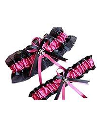 """Size Around 24"""" CGTG212 Hot Pink Black Wedding Garter"""