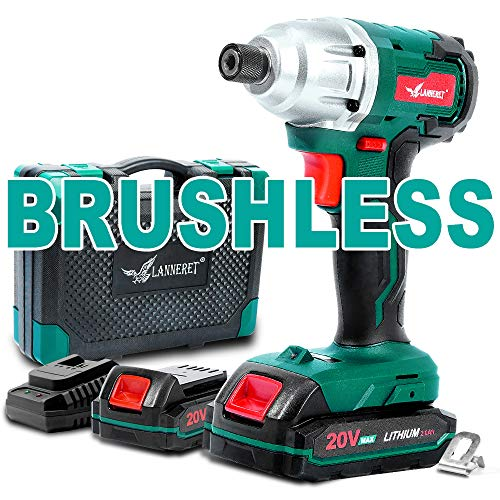 Brushless Cordless Impact Driver-20V Max Li-Ion LANNERET 1/4 Inch Hex Impact Driver Combo Kit w/192 ft-lb Torque,Double Speed(0-1400/0-2600 RPM),2X2.0Ah Lithium Batteries and BMC Carrying Case