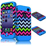 BasTexWireless Bastex High Impact Hybrid Rocker Case for Apple iPhone 4, 4s - Sky Blue Silicone with Pink, Blue, White, & Green Neon Colored Chevron Design Hard Shell