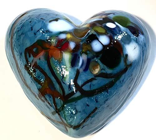 (New Handmade Artist Totally Blown Glass Mini Heart Paperweight -)