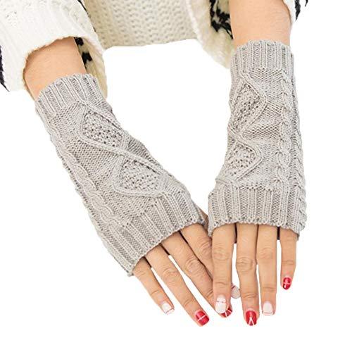 Yevison 1Pair Knit Wrist Rhombic Pattern Half Fingerless Thumb Hole Warm Gloves Women Girl Grey Durable and Useful