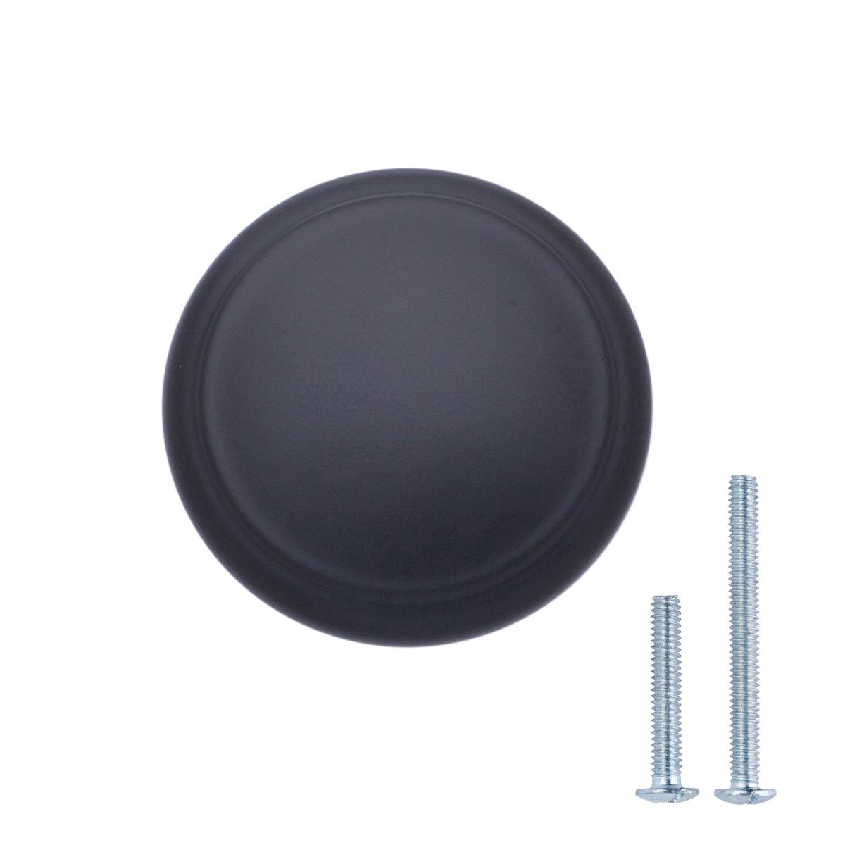 2,95 cm de di/ámetro con dise/ño de aro superior negro liso paquete de 25 Pomo de armario moderno Basics