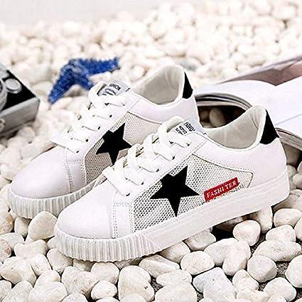 ZHZNVX Zapatos de Mujer de imitación de Cuero/Malla de Primavera Comfort Zapatillas de tacón