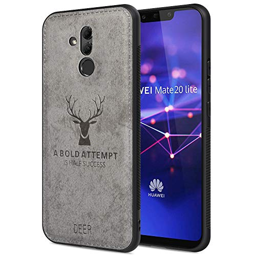 (Huawei Mate 20 lite Waterproof Case Shockproof Snow-Proof Dirt-Proof Full Body Phone Protector Cover for Huawei Mate 20 lite with 3D Imprinted Deer Huawei Mate 20 lite Cellphone Case (Gray))