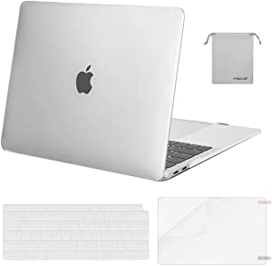 MOSISO MacBook Air 13 inch Case 2020 2019 2018 Release A2337 M1 A2179 A1932, Plastic Hard Shell&Keyboard Cover&Screen Protector&Storage Bag Compatible with MacBook Air 13 inch Retina, Frost