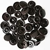 "100 Lead-Tested KAMsnaps KAM Snaps Size 20 (1/2"") Plastic Button Sewing Fastener CPSIA-Compliant for Cloth Diapers Bibs Unpaper Towels PUL (Black)"