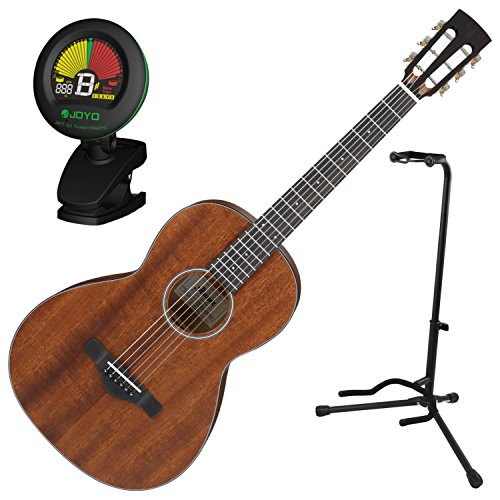 Ibanez AVN90PN Parlor Solid Thermo Aged Mahogany Top Acoustic Guitar w/ Tuner and Stand