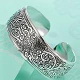 Sumanee Boho Ethnic Silver Flower Bangles Retro Girls Cuff Bracelet Ladys Hand Jewelry