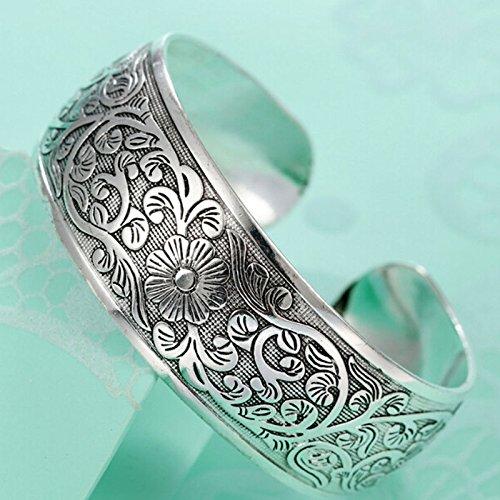 Ethnic Cuff (Sumanee Boho Ethnic Silver Flower Bangles Retro Girls Cuff Bracelet Lady's Hand Jewelry)