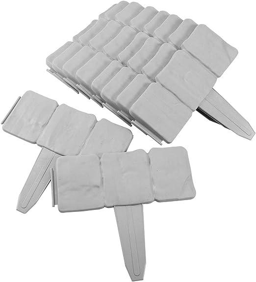 Anladia 30pcs Plástico Valla Bordes con Efecto Piedra Decoración para Jardín Césped Adoquines Patio Color Gris: Amazon.es: Jardín