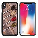 MSD Premium Apple iPhone X Aluminum Backplate Bumper Snap Case Tarnished silver spoons containing black white pink and green peppercorns wood IMAGE 21807034