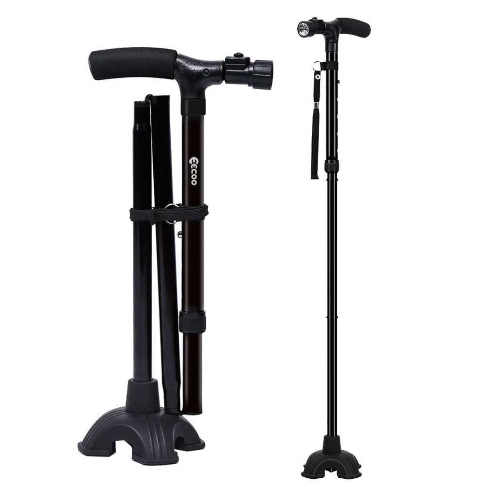 Walking Cane, Self Standing Folding Walking Cane Lightweight Walking Stick with LED Light and Cushion Handle Adjustable Folding Cane for Men and Women