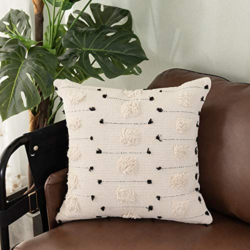 OJIA Throw Pillow Covers Boho Decorative, Black and White Neutral Collection Accent Pillows Cover, Tufted Cushion Case Farmhouse Decor for Couch Living Room Party (18 x 18 inch, Cream Tribal) (Black Tufted Bedding)