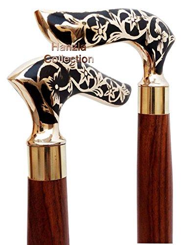 Handmde Black Designer Brass Handle Wooden Walking Cane Stick Vintage Victoria (Designer Antique Brass)