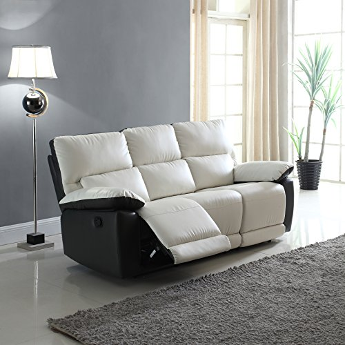 Modern Two Tone Bonded Leather Oversize Recliner Living Room Set (3 Seater)