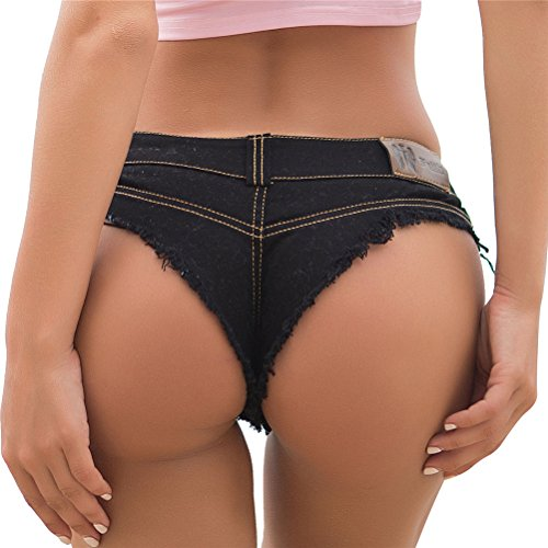 Lightweight Low Rise Jeans - VOGRACE Women's Low Rise Ripped Destroyed Denim Shorts Denim Thong Clubwear S Black