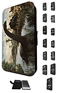 1054 - Cool fun dinosaur art t-rex triceratops stegosaurus spinosaurus (2) Design Samsung Galaxy A3 Fashion Trend TPU Leather Flip Case Full Case Flip Credit Card TPU Leather Purse Pouch Defender Stand Cover