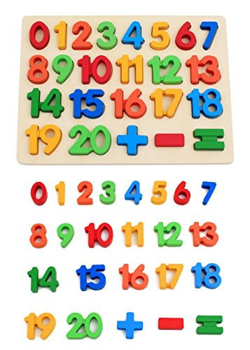 (KanCai Kids Wooden 1-20 Number Puzzle Board -early learning toys 220x300x10mm (Numbers Puzzle))