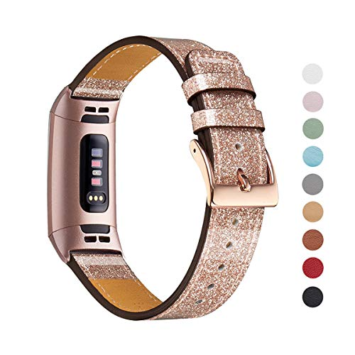 WFEAGL Leather Bands Compatible Charge 3 Charge 3 SE, Classic Top Grain Leather Replacement Bands with Metal Connectors Silver, Rose Gold, Black (Rose Gold Band(Glistening)+Rose Gold Adapter)