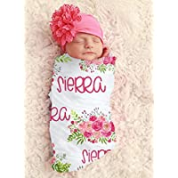 Baby Girl Pink Floral Personalized Baby Blanket Personalized Swaddle Blanket Baby Girl Receiving Blanket Monogram Flowers