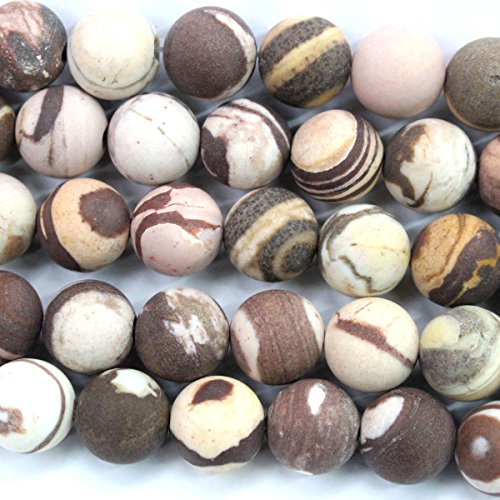 Natural Color Unpolished Australian Brown Zebra Jasper Round Gemstone Jewelry Making Loose Beads (10mm)