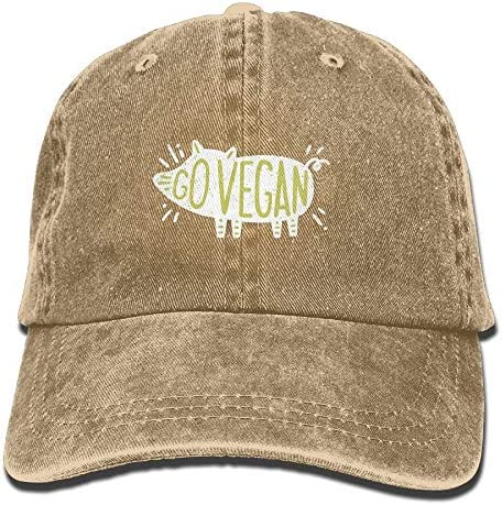 Go Vegan Pig Washed Baseball Cap, Retro Adjustable Sun Dad Gift Hats for Men/Women