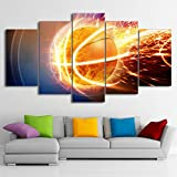 [LARGE] Premium Quality Canvas Printed Wall Art Poster 5 Pieces / 5 Pannel Wall Decor Fire Basketball Painting, Home Decor Pictures - With Wooden Frame