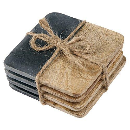 - Mud Pie Slate and Wood Coasters, Set of 4