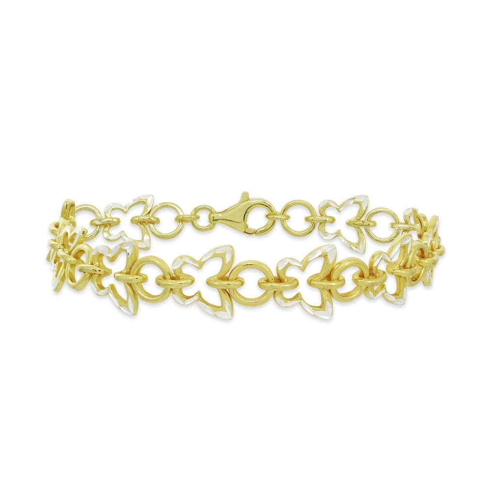 Two-Tone Yellow Gold Flashed Sterling Silver Nature Butterfly Diamond-Cut Charm Link Bracelet