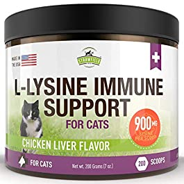 Lysine for Cats – L Lysine Powder Cat Supplements – 900mg, 200 Scoops – Llysine Kitten, Cat Immune System Support Supplement for Cold, Sneezing, Eye Health, Upper Respiratory Infection Treatment, USA