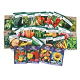 Heirloom Seeds Assortment - Collection of 30 Non-GMO, Easy Grow, Gardening Seeds: Vegetable, Fruit, Herb & Flower - Open Pollinated - Radish, Pumpkin, Dill, Eggplant, Sunflower, More