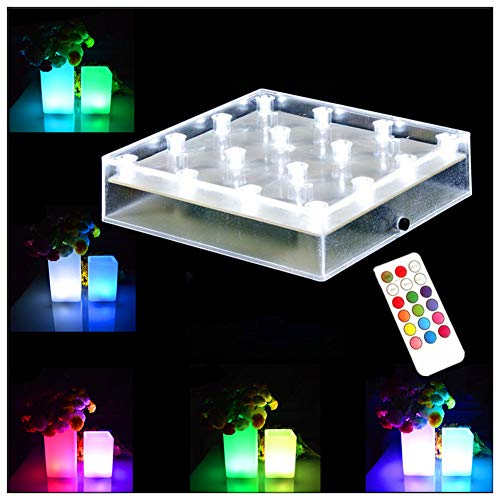 LACGO 5 Inch Squre LED Vase Base Light with IR Remote Control, RGB Multi Color Changing, Battery Powered 16 LEDs Light for Party Wedding Vase Home Decoration(1 PCS)
