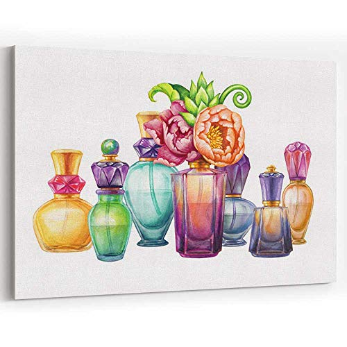 (Actorstion Watercolor Perfume jar Set Canvas Art Wall Dcor,Blank Cosmetics Bottles Clip Art 36
