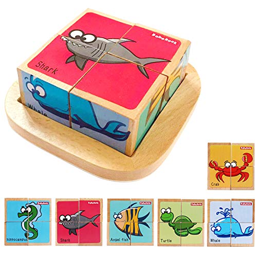 Wooden Block Puzzles Toys Toddler Six Sides Painting Pattern Jigsaw Marine Animal Blocks Cube Puzzle Educational Toy Early Learning Kids Childrens Gifts 2-3 Year Old Girl Boy