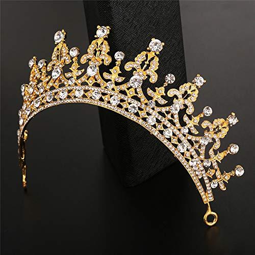 Dorado Accesorios de Boda Corona de Reina Dorada Corona de Cristal Vintage para Novia 15.5 * 5.5CM Accesorio de Lujo para el Pelo Lumanuby Cristal