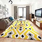 Place Mats Rug Carpet living room bedroom study restaurant coffee table sofa room nightstand home rug rectangle Computer Chair Mat European and American style (Color : Yellow, Size : 80160cm)