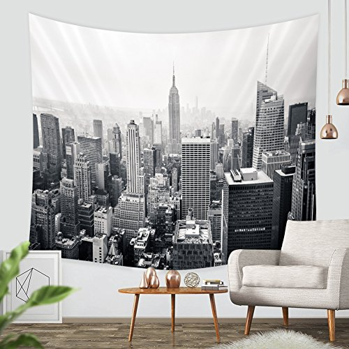 City Hangings - ZBLX New York City Tapestry Wall Hanging-Sunset Skyscrapers in New York Hanging Tapestry By for Home and Wall Decorations. (Black59.1 X82.7)