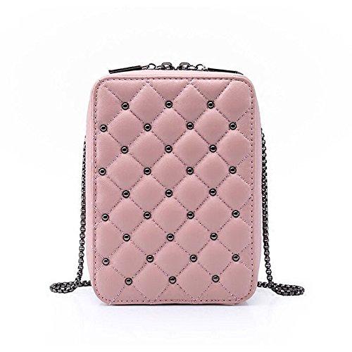Embrague Señora Moda Desenfadado Bolso De Hombro Vintage Messenger Bag Cartera Pink