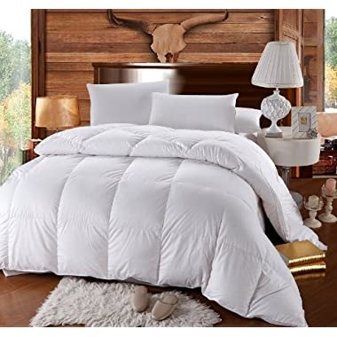 Queen Size Down-Comforter 500-Thread-Count Siberian Goose Down Comforter 100 percent Cotton 500 TC - 750FP - 50Oz - Solid White