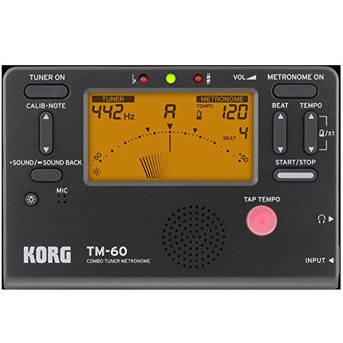 New Korg TM-60 Tuner Metronome Combo With Large Screen Black TM60BK (Korg Guitar Tuner And Metronome)