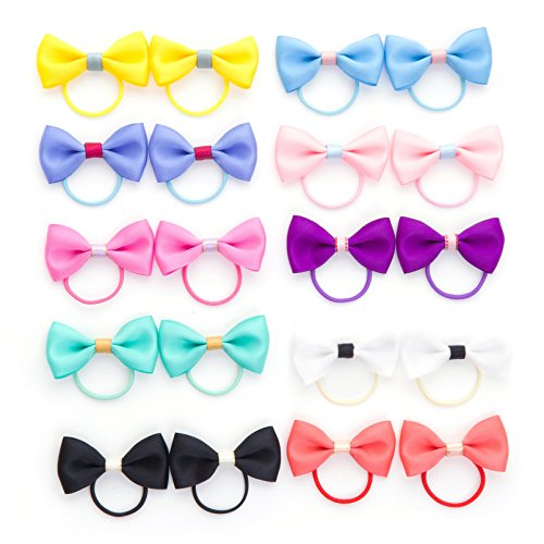 Belle Beau Baby Girls Bow Elastic Ties,Ponytail Holders,Hair Bands,Hair Elastics,Value Set (G)