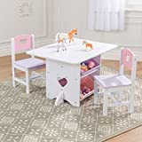 Taylor & Brown Children's Nursery Wooden Heart Play Table and 2 Chairs Set with 4 Storage Boxes