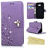 A5 2017 Case , A5 Case (2017 Model) - Mavis's Diary [Bling Vine Butterfly Embossed] Book Wallet PU Leather Flip Cover with Glitter Gems Diamonds Silicone Back Holder Case Magnetic Closure Card Slots & Stand & Wrist Strap for Samsung Galaxy A5 2017- Violet (Not for 2015/2016 Model)