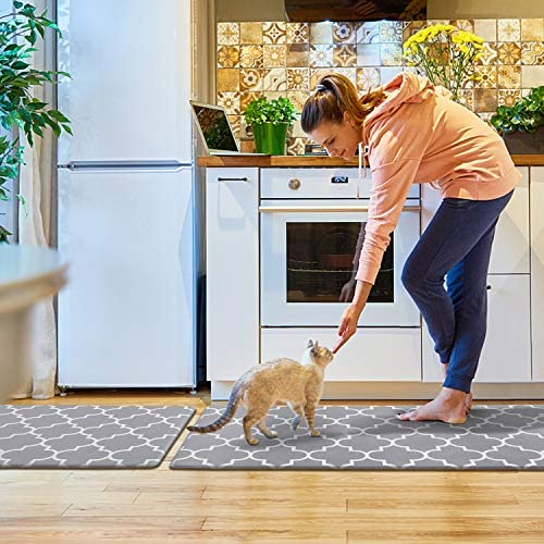 515ZJNpYnCL. AC KMAT Kitchen Mat [2 PCS] Cushioned Anti-Fatigue Kitchen Rug, Waterproof Non-Slip Kitchen Mats and Rugs Heavy Duty PVC Ergonomic Comfort Foam Rug for Kitchen, Floor Home, Office, Sink, Laundry    Product Description