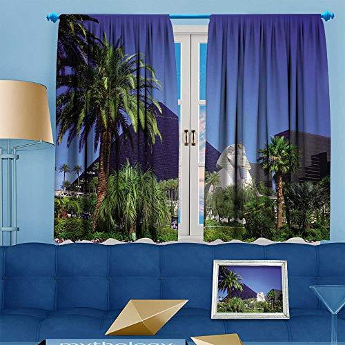 PRUNUS Blackout Curtain Luxor Hotel Casino on Las Vegas Strip Room Darkening Curtains W55 x L63 inch