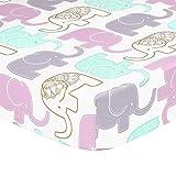 Purple, Grey, Green, Metallic Gold Elephant Print Fitted Crib Sheet - 100% Cotton Baby Girl Jungle Animal Theme Nursery and Toddler Bedding