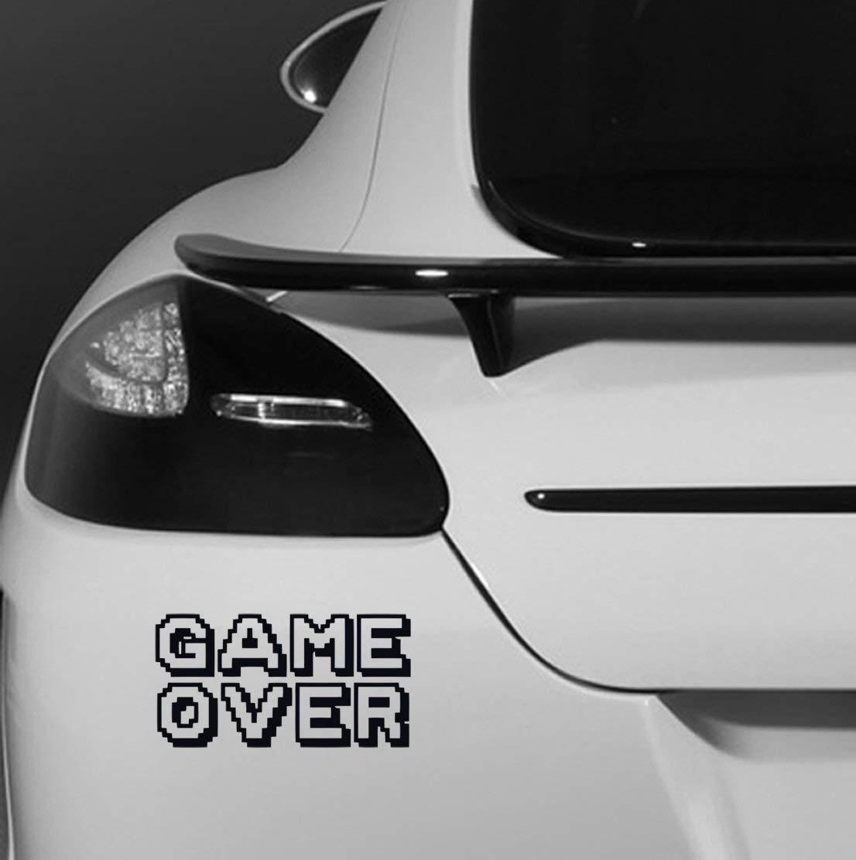 Game Over Logo Frase Lema Se/ñal Veh/ículo Coche Adhesivo 29 cms wide x 16 cms high Amarillo