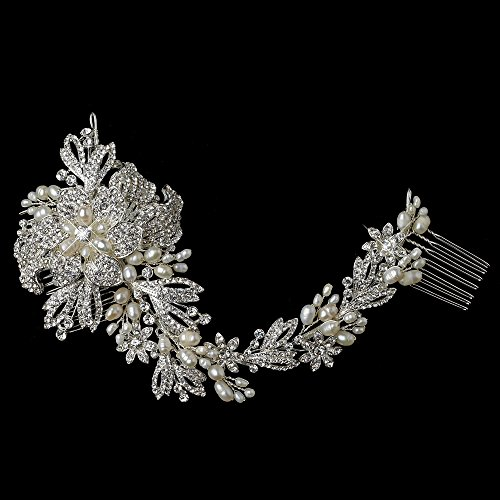 Graceful Freshwater Pearl, Rhinestones Floral Vine Wedding Bridal Special Occasion Side Comb by Fairytale Bridal Tiara